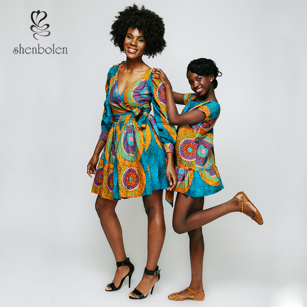 c67ad09f7bd7f2 M3296 African wax women's dresses 100% cotton fashion mom and kid design