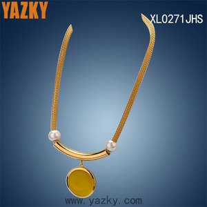 Round opal stone pendant necklace 316L stainless steel gold plated mesh chain with high polished bar and pearl charms