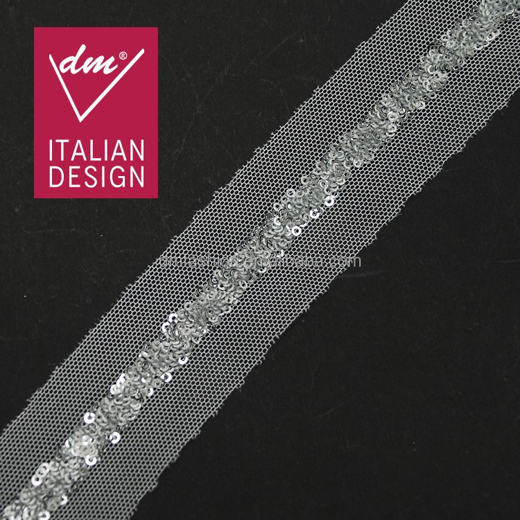 Silver sequin trim embroidered sequin lace ribbon trim applique motif embellishment for wedding crafts