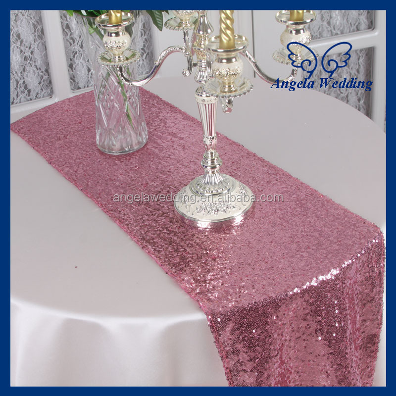 ru009g giltter cheap fancy weddding sequence beaded decorative rose pink sequin table runner for round table