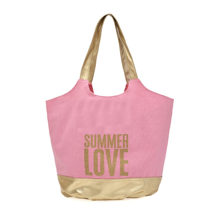 Summer Love Gold Glitter Printing Canvas Beach Bag Tote Bag - Buy ...
