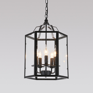 2019 condo project Iron glass cage pendant lamp long chain chandelier