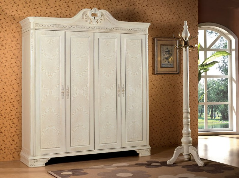 2014 Classic wooden wardrobe was made from oak solid wood and HDF board for bedroom furniture sets