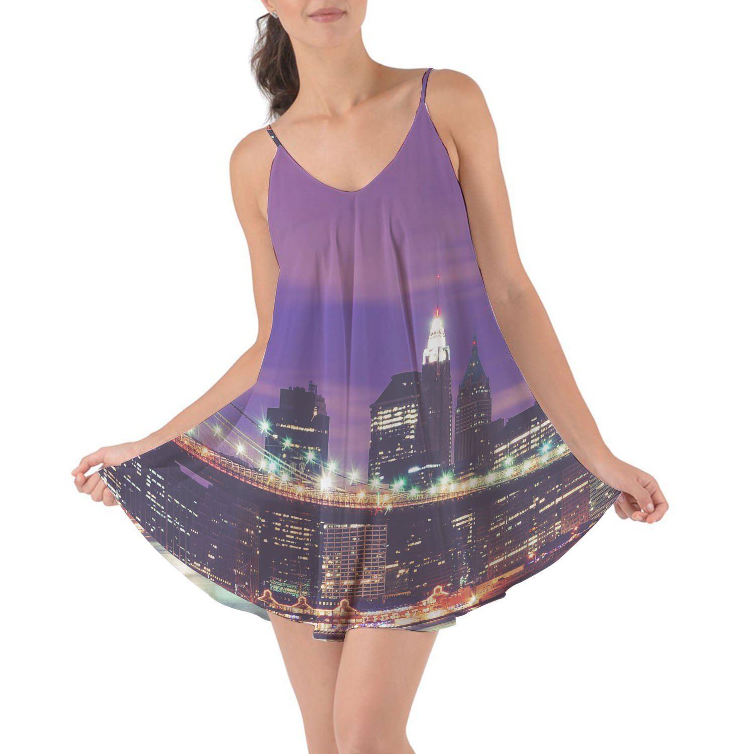 Get Quotations · Queen of Cases New York City At Night Beach Cover Up Dress ead093f47