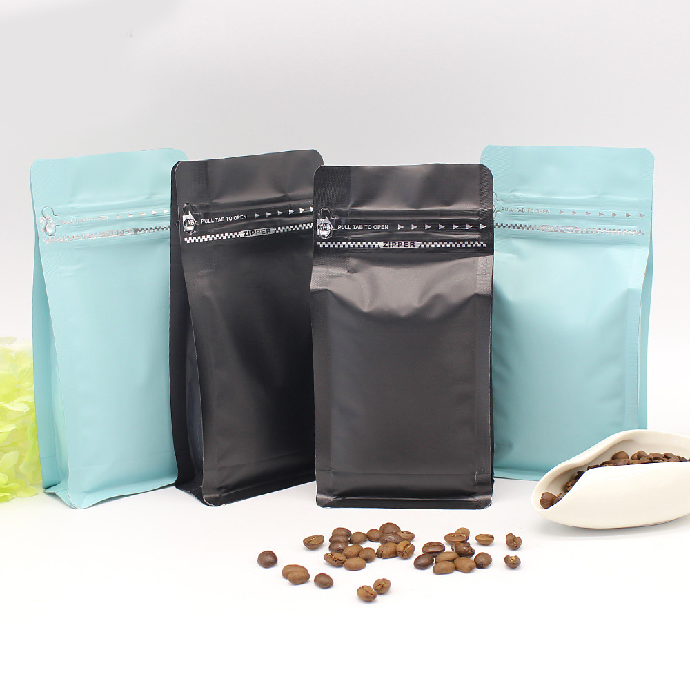 Stand up ziplock matte green malaysia tea coffee bags with valve