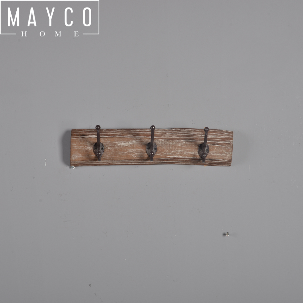 Mayco Antique Vintage Clothes Hanging Wall Decorative Wood Metal Coat Hook