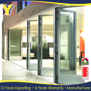3 Panel French Patio Doors Commercial Double Glass Doors Security