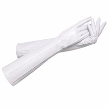 ladies fashion style long leather gloves winter white leather gloves