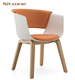 White plastic visitor leisure chair with solid wooden legs and cushion