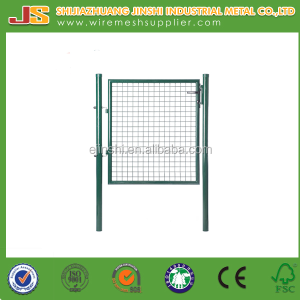 1m height Green home yard wire mesh decorative metal garden gate with safety lock
