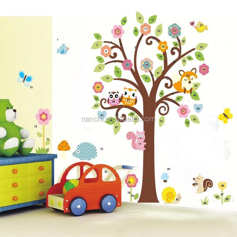 Owl bunga pohon kupu kupu kartun dinding decal kamar bayi for Mural kartun