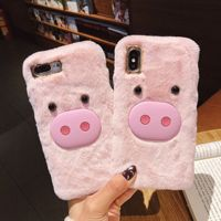 Animal Cartoon 3d Sublimation Mobile Phone Shell Cases Pig Keji Dog Duck Cute Plush Fur Cell Phone Case