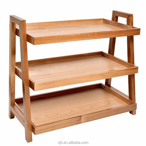 End Tables 3-Tier Acacia Wine Rack Wooden Stand Living/Study Room/Bathroom/ Kitchen Storage Racks