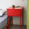 Modern steel metal nightstands bedside table red