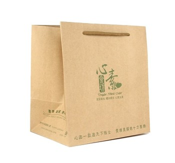 Take away custom famous brand logo printed gift food shopping brown kraft craft recycled paper bag with handles