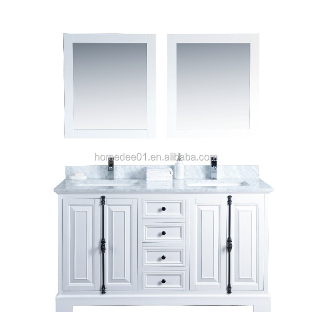 white wooden bathroom cabinet with double sinks