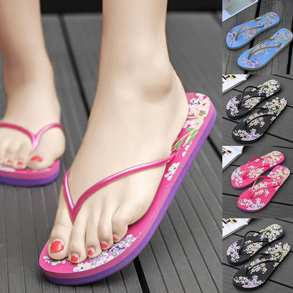 a2876608e MUQGEW Floral Flat Flip Flops For Men Woman Girl Summer Casual ...