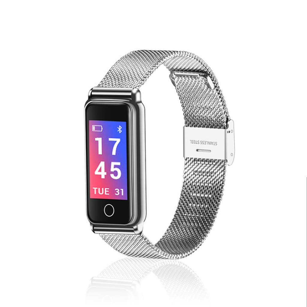 TMY Heart Rate Blood Pressure Detection Smart Bracelet Bluetooth Color Screen Call Reminder, Support MIUI, iOS, Android (Color : Silver)