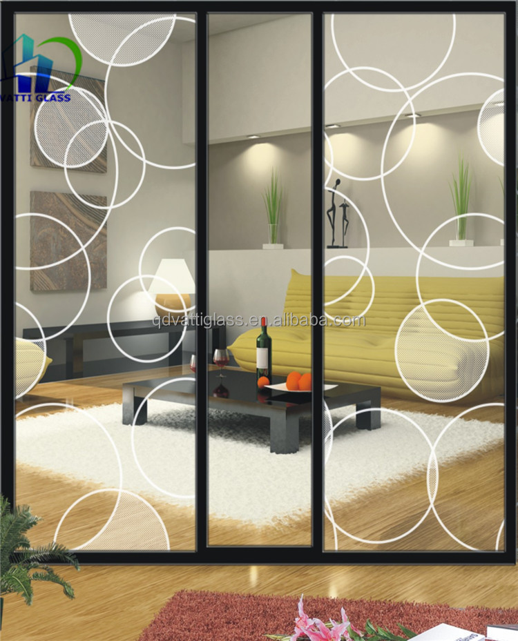 High Quality Different Pressed Glass Patterns Acid Etched Pattern Glass Door Frosted  Glass For Door Panels