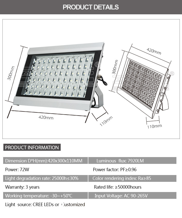 IP67 Waterproof bridgelux 72w outdoor decorative led flood light