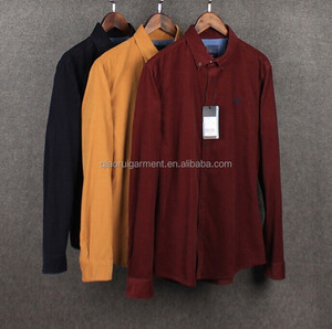 100%Cotton Long sleeve Button down men's corduroy shirts
