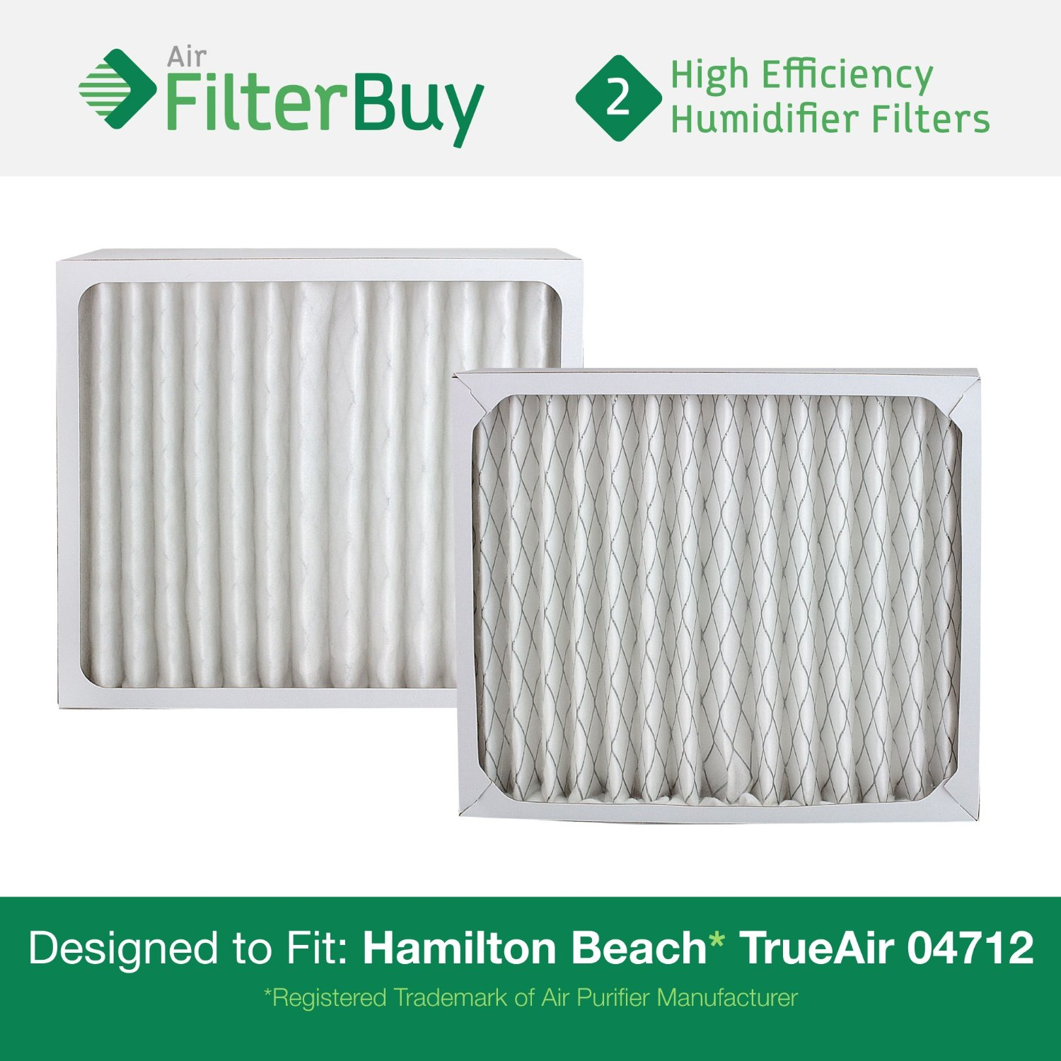 2 - 04712 Hamilton Beach True Air Replacement Air Purifier Filters.  Designed by FilterBuy to
