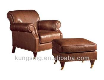 Leather Sofa With Footrest Ottoman Stool Product On Alibaba