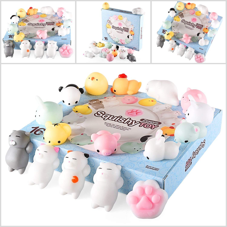 Zekpro Kawaii Squishy Toys (16-Pack) Cute Animal Slow Rising Squishies | Cats, Panda Bear, Pigs, Rabbits | Fun, Colorful, Non-Toxic Silicone | Girls, Boys, and Teens