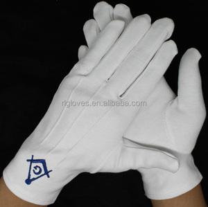 100% heavy white cotton glove masonic embroidery glove