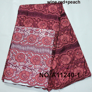 New arrival 2016 wine red nigerian french lace styles net lace fabric / Retail stocklot