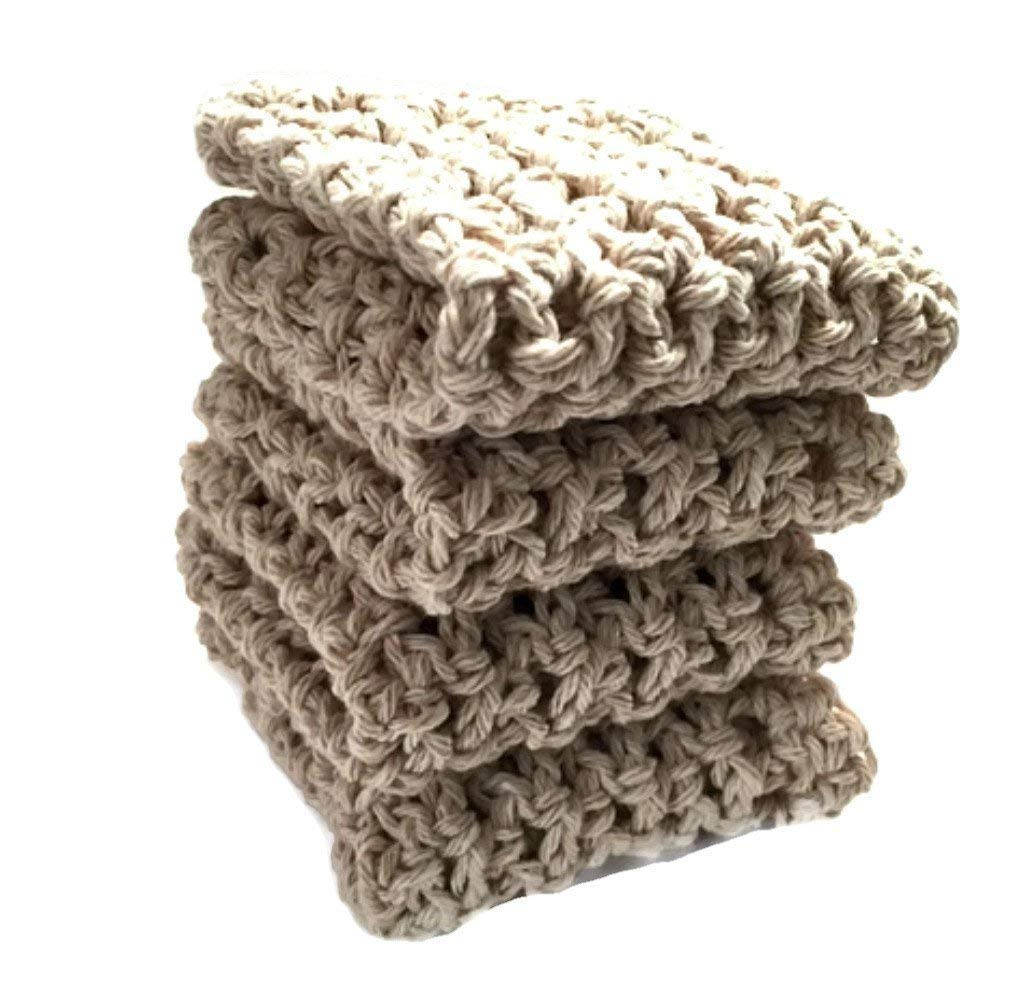 Handmade Dish Cloths Cream Beige Wash Cloths Neutral Crochet Cotton Kitchen Dishcloths Set of 4