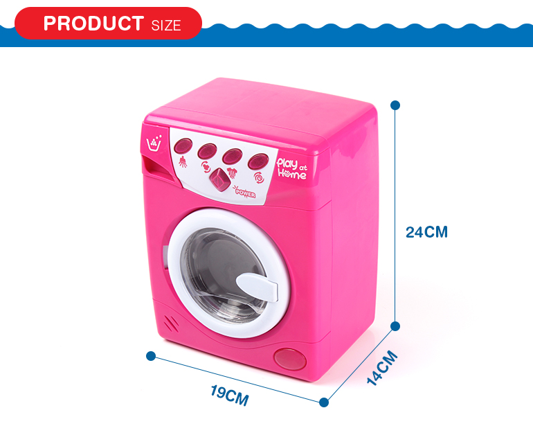 Pretend play home appliance electric lighting pink toy washing machine with music