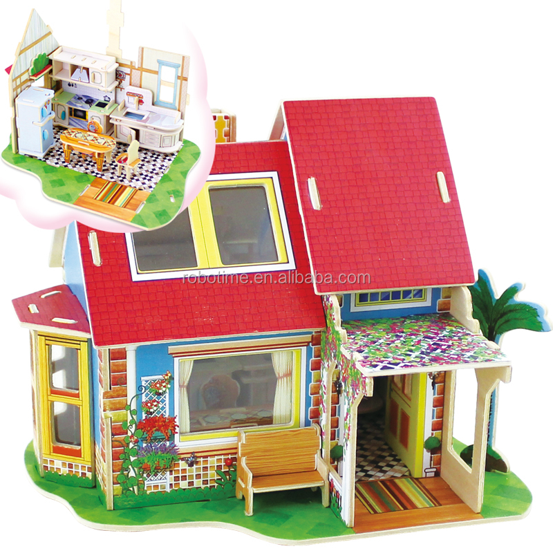 3D Wooden Doll houses with mini furniture DIY Kids Toys