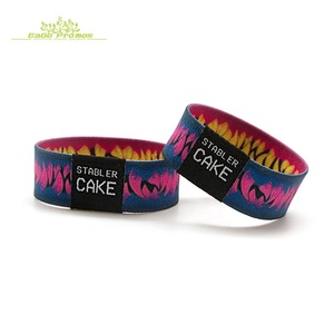 2019 Top quality custom logo promotional fabric bracelet wholesale elastic cloth Wristband for events festivals