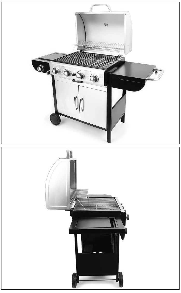 Outdoor Camping Homemade BBQ Grill Gas Barbecue Gas Grill With 4 Burner