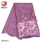 3d french lace fabric embroidered tulle net lace beaded lace fabric with stone