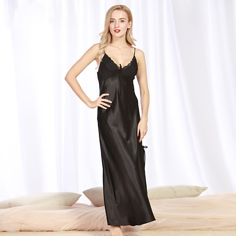 Panjang gaya sexy lingerie silk seperti wanita sleepwear night dress