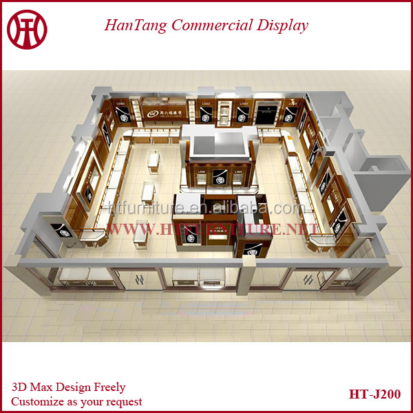 Professioanl modern jewelry shop interior design with 3d for 3d max interior design