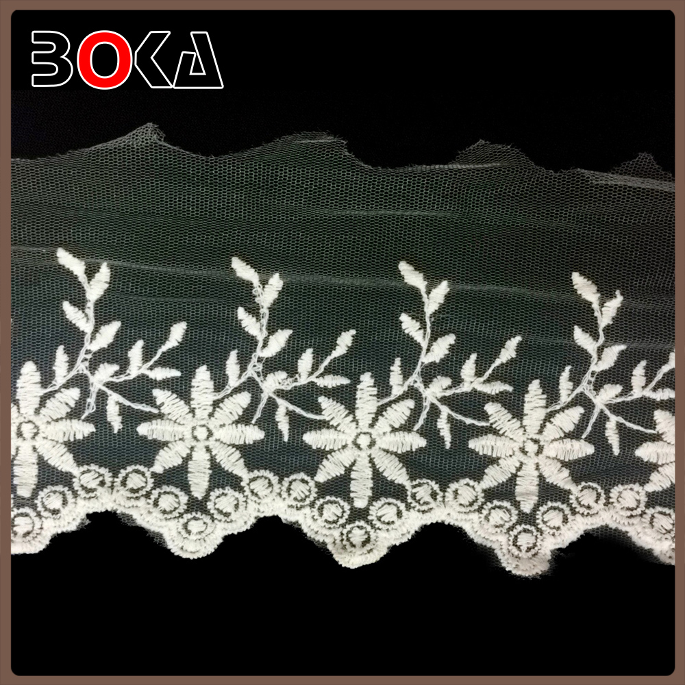BOKA wholesale french Ivory Mesh Embroidered Border Lace for Embroidery wedding clothes making