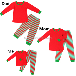 2018 Wholesale Kids Red Green Striped Christmas Pajamas Family Matching Clothing Sets