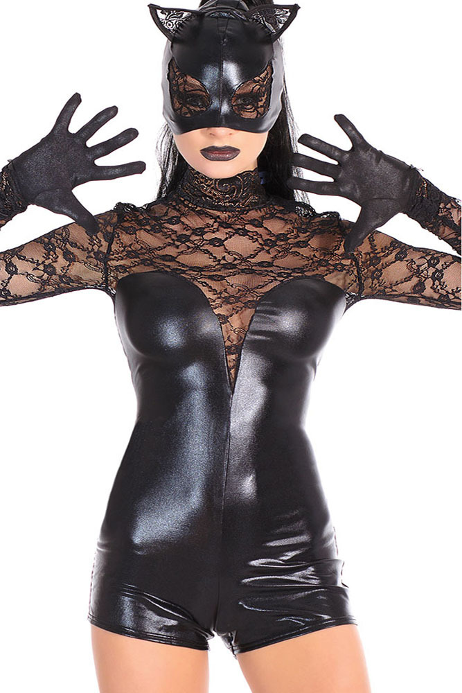 Black Pvc Catwoman Catsuit Faux Leather Wet Look Cat Costume Lace Long Sleeve Bandage Romper Club