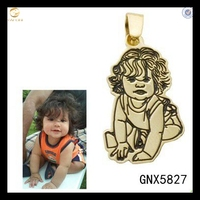 Personalized Engraved Baby Photo Necklace Memorial Charm In Sterling Silver