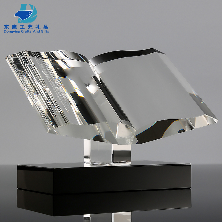 Cheap crystal award customized top quality blank book shape trophy