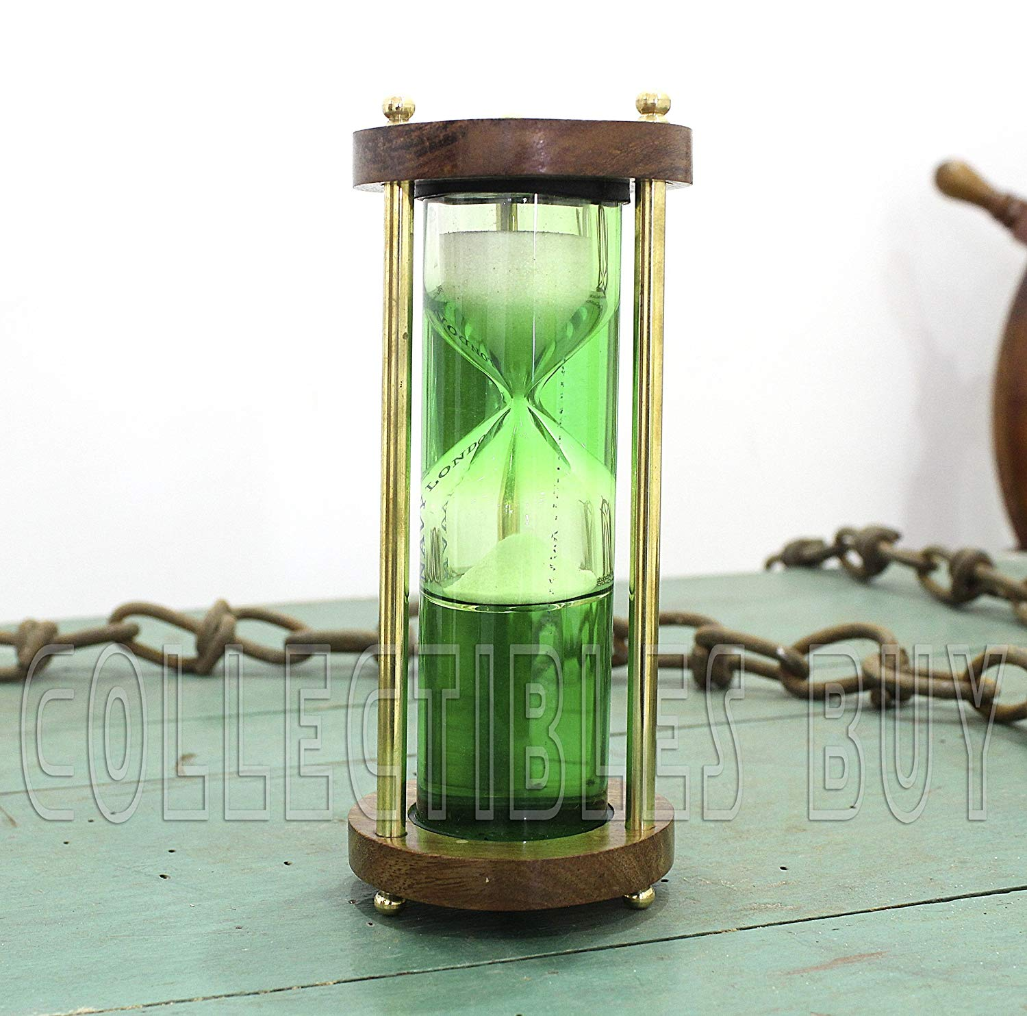 Vintage Hour-Glass Green liquid tube sand timer hour glass vintage watch London 1917