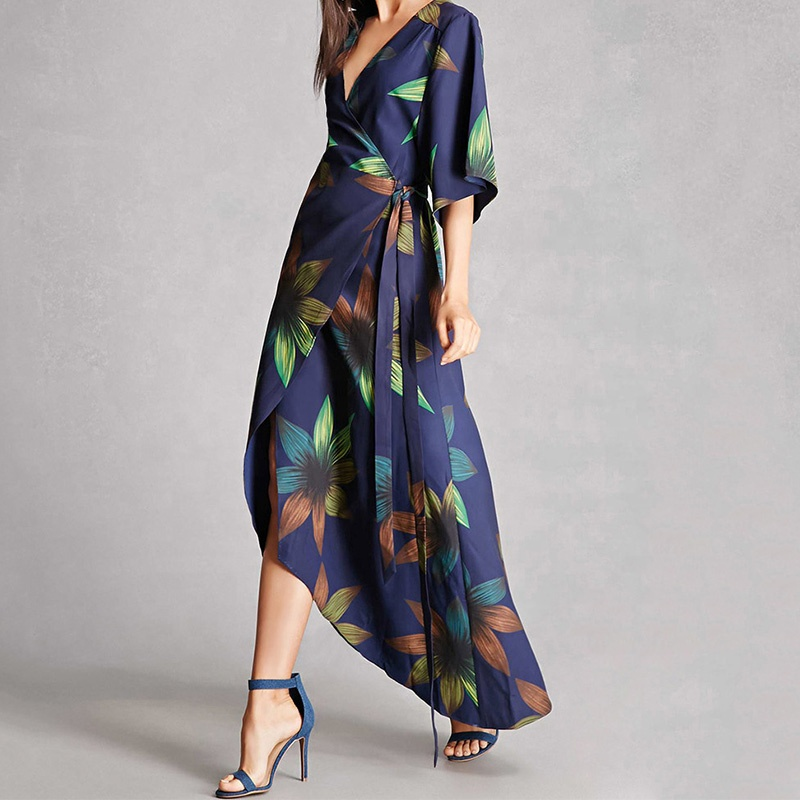Womens 3/4 Sleeve Floral Print <strong>Faux</strong> <strong>Wrap</strong> Long Maxi Dress with Belt