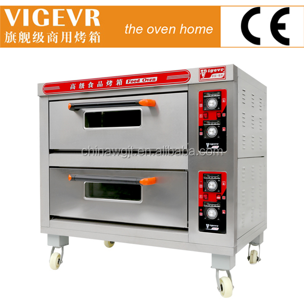 Professional Bakery Machinery Stone Gas Pizza Oven Double Deck 4 ...