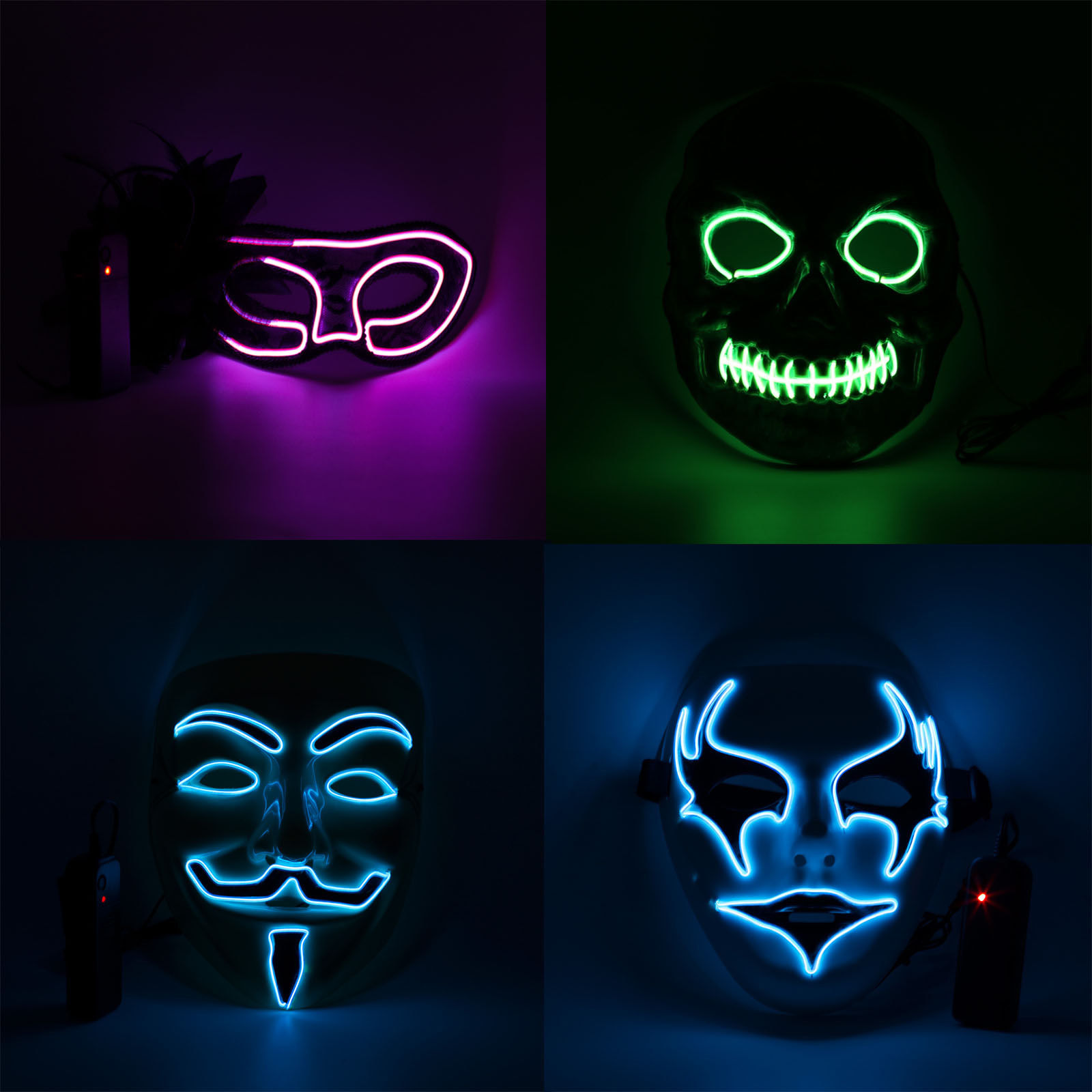 Amazon Hot Selling Halloween Masker Cosplay LED Glow Scary EL Draad Party Masker Voor Festival Decor