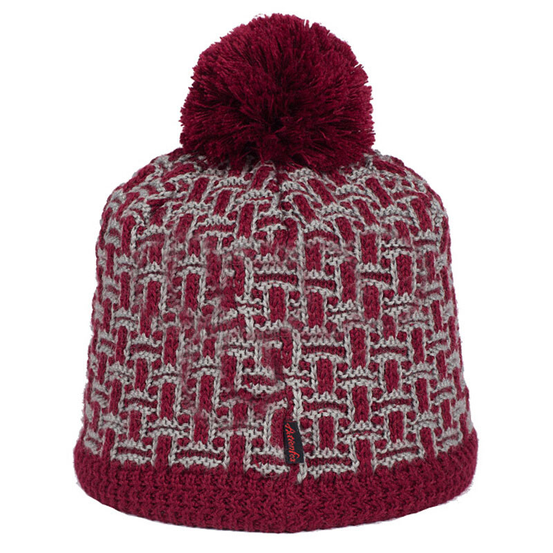 Red Check Pattern Thick Double Sided Knitted Beanie Hat With Fur ...