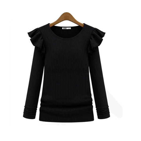 Get Quotations · Today Deal Wholesale 10 pcs lot Fashion Womens Autumn  Winter Sweater Ruffle Slim Ladies Pullover d31392df6