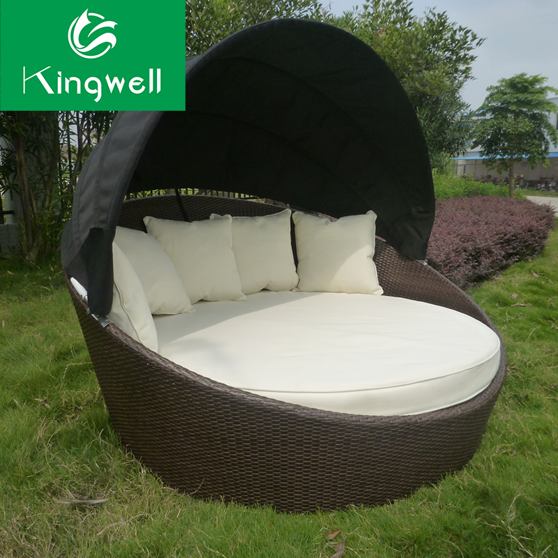 Outdoor rattan wicker sunbed canopy daybed with waterproof cushion broyhill outdoor furniture